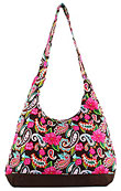 Floral and Paisley Print Hobo Bag in Chocolate Brown