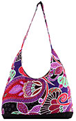 Floral and Paisley Print Hobo Bag in Purple