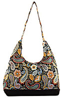Floral and Paisley Print Hobo Bag in Black