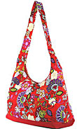 Floral and Paisley Print Hobo Bag in Red