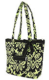 Damask Quilted Handbag in Green