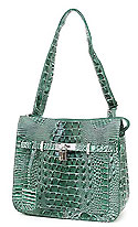 Croc Embossed Shoulder Bag in Green