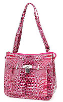 Croc Embossed Shoulder Bag in Raspberry