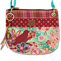 Cross Body Shoulder Bag with Applique Bird