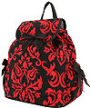 Drawstring Backpack in Red Damask