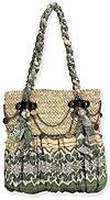 Sandunia Natural Shoulder Tote in Green