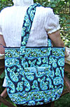 Quilted Fabric Divinity Tote Bag in Peacock Blue