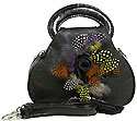 Feather and Flower Handbag in Black