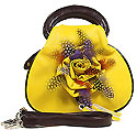 Feather and Flower Bag in Mustard Color