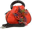 Feather and Flower Handbag in Red