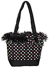 Polkadot Bucket Style Bag with Decorative Fringe