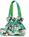 Quilted Floral and Polkadot Bag in Green