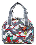 Quilted Owl & Chevron Lunch Tote Bag