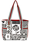 Black and White Patchwork Medium Tote
