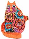 Feline Family Cut Out Crossbody Bag (Orange)