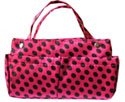 Purse Organizer in Fuchsia and Black Polkadots