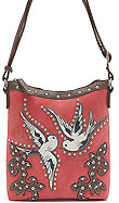 Western Design Bird Accent Cross Body Bag in Poppy