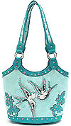 Western Design Bird Accents Tote Bag in Aqua