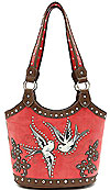 Western Design Bird Accents Tote Bag in Poppy