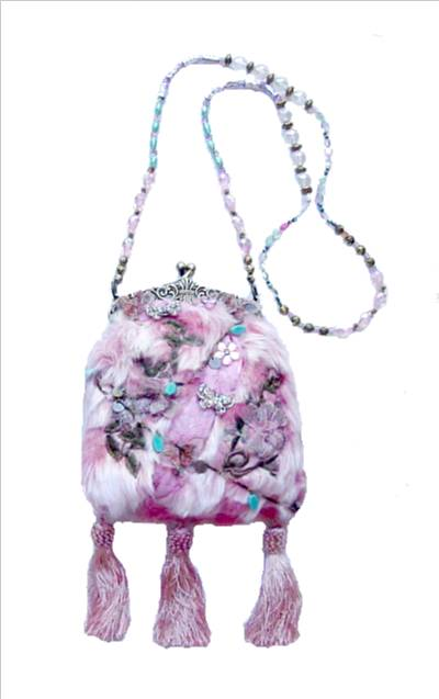 Pink Fur Purse with Beaded Handle