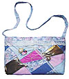 Handcrafted Blue and Pink Crazy Quilt Bag