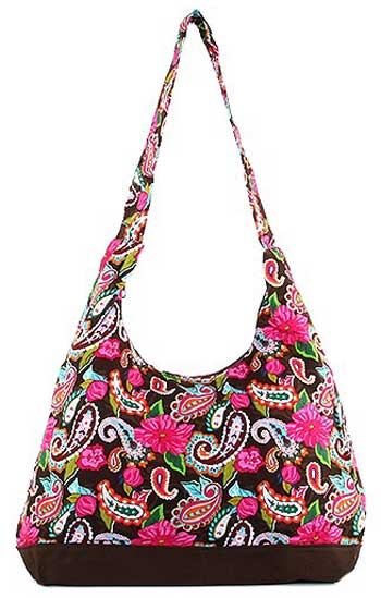 Floral and Paisley Print Hobo Bag in Chocolate Brown - Click Image to Close