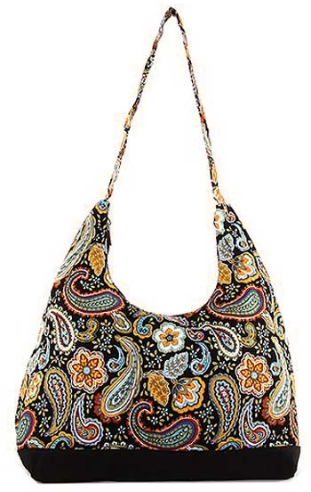 Floral and Paisley Print Hobo Bag in Black - Click Image to Close