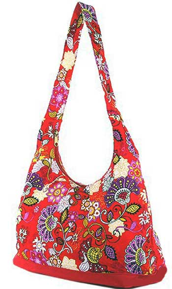 Floral and Paisley Print Hobo Bag in Red - Click Image to Close