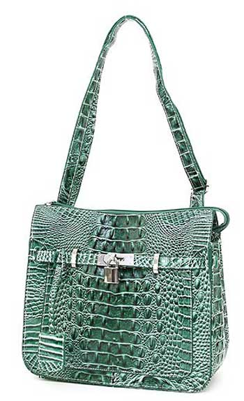 Croc Embossed Shoulder Bag in Green - Click Image to Close