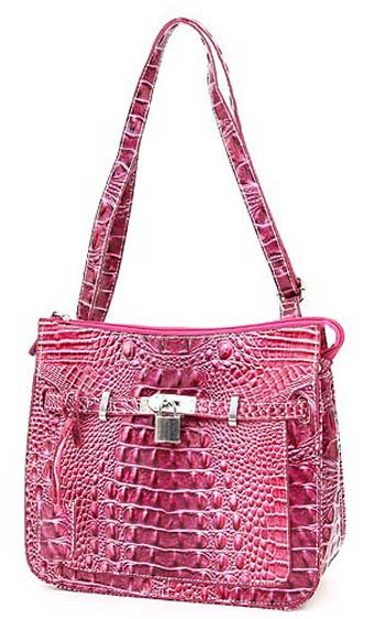 Croc Embossed Shoulder Bag in Raspberry - Click Image to Close