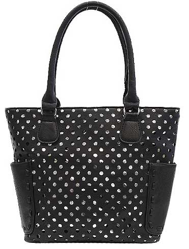 Perforated Fashion Black Tote Bag - Click Image to Close