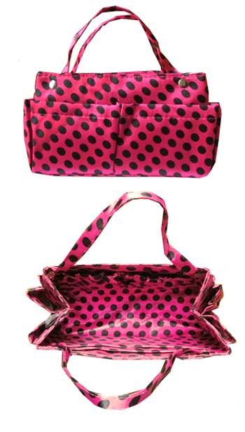 Purse Organizer in Fuchsia and Black Polkadots - Click Image to Close