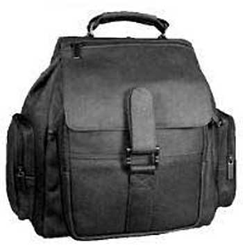 Organizational Leather Backpack in Black - Click Image to Close
