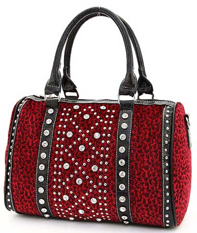 Leopard Pattern Studded Accent Satchel in Red - Click Image to Close