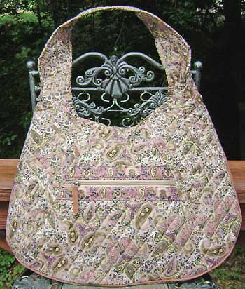 Paisley Quilted Pink and Beige Hobo Bag - Click Image to Close
