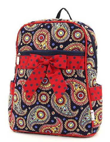 Quilted Paisley Medium Zippered Backpack - Click Image to Close