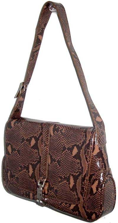 Brown Snakeskin Patterned Flap Handbag - Click Image to Close