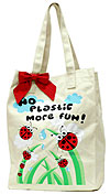 Canvas Market Bag with Ladybugs - No Plastic more Fun!