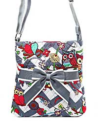 Quilted Owl & Chevron Bow Accent Hipster Bag