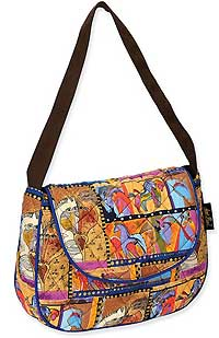 Horse Collage Quilted Medium Flap Bag