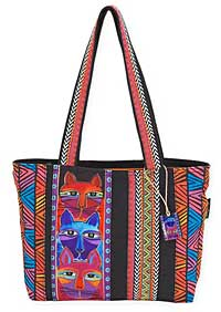 Stacked Whiskered Cats Medium Tote
