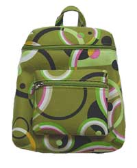 Backpack in Green with Psychedelic Designs