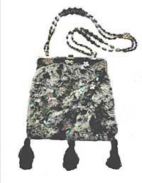 Gray and Black Fur Purse with Butterfly Decorations