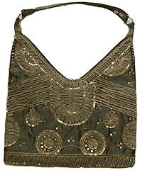 Hobo Bag with Sequin in Olive Green