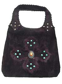 Suede Hobo Bag with Cross Design