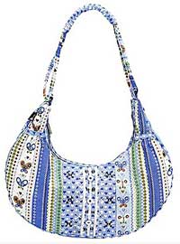 Periwinkle Blue Sweetie Stripes Hobo Bag by Chester