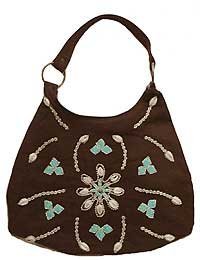 Hobo Bag with Seashell Decorations