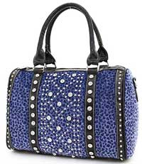 Leopard Pattern Studded Accent Satchel in Blue