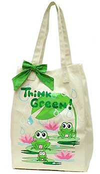 Canvas Market Bag with Frogs
