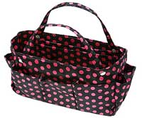 Purse Organizer in Black with Pink Polkadots